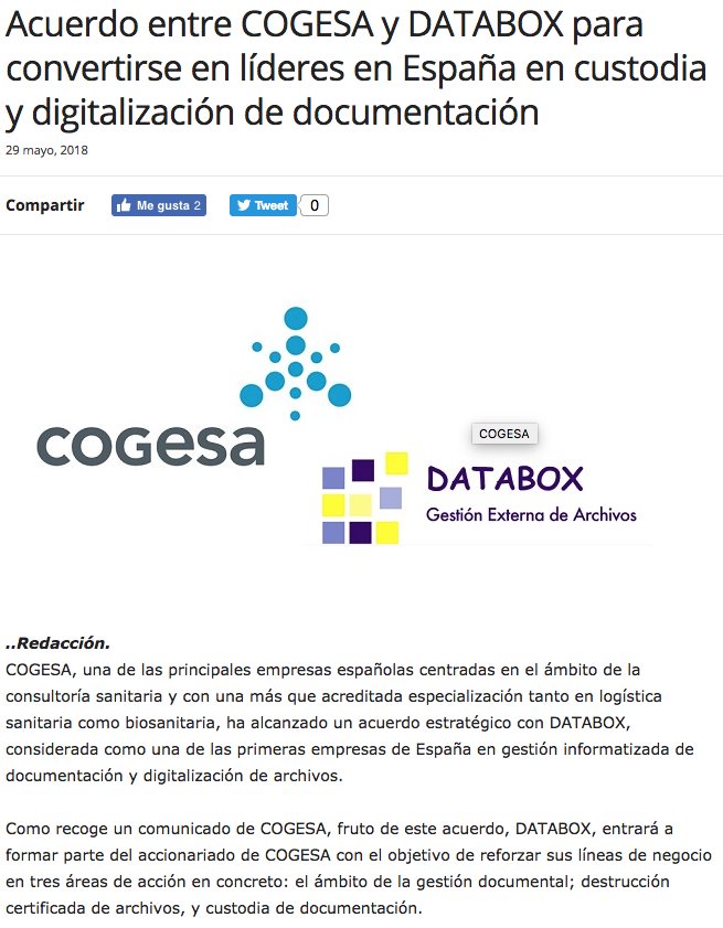Noticia Isanidad Cogesa/Databox
